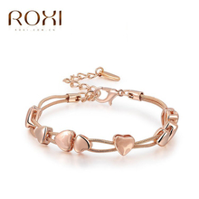 Hot Whosale Heart Bracelets & Bangles 18K Platinum/Rose Gold Plated Fashion  Wedding Jewelry For Women Gift(China (Mainland))