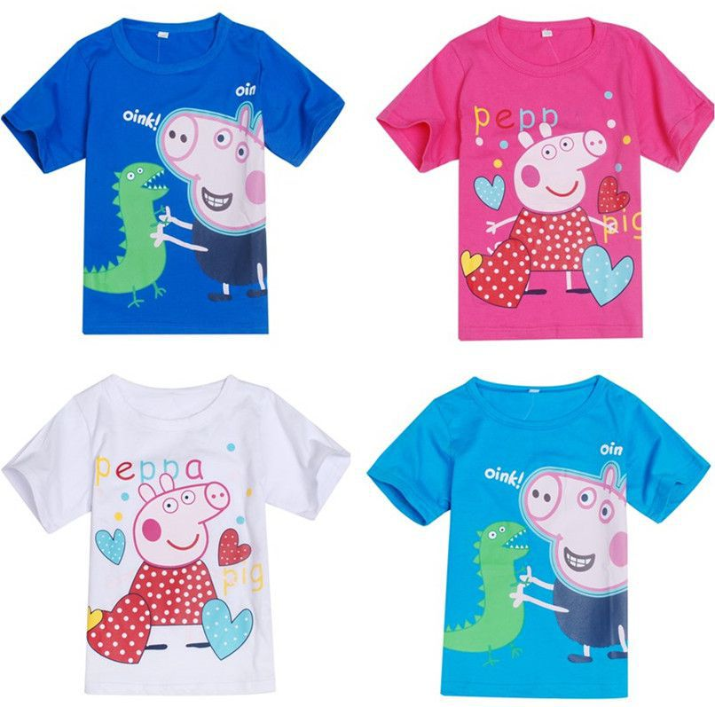 Pink Pig T Shirts Pepa Pig Girls Boys T Shirts Kids Short Sleeve Tee Cotton Children Clothing Summer Style Free Shipping(China (Mainland))