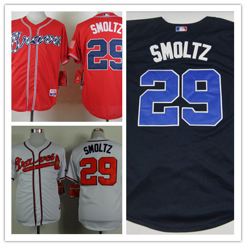Mens Atlanta Braves Home White Throwback VINTAGE Baseball Jersey Red #29 Alternate Navy Blue John Smoltz Jerseys stitched<br><br>Aliexpress