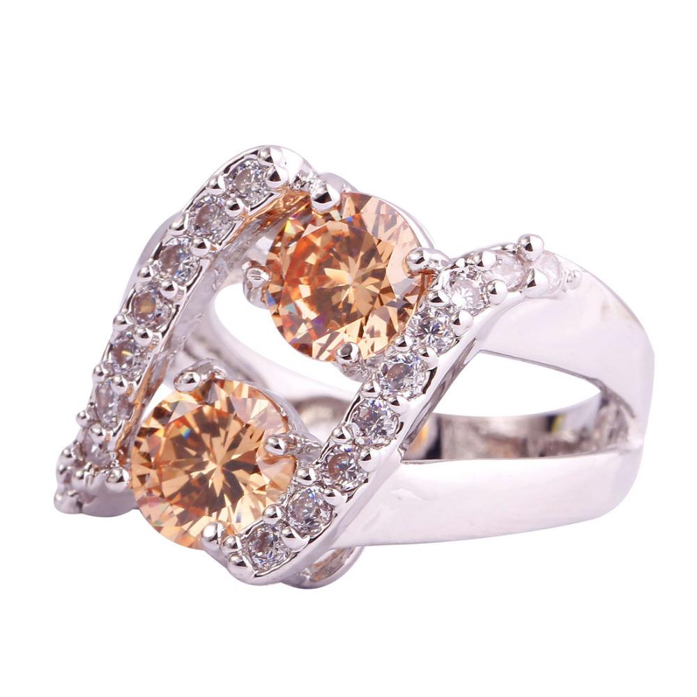Aliexpress Buy New Women Jewelry Champagne Rings Round Morganite Junoes