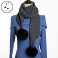 Black Women Knitted Scarf  Hat Set 2016 Winter Striped Hats And Scarves With Double Real Fur Pompom 100% Acrylic Caps Set 6902
