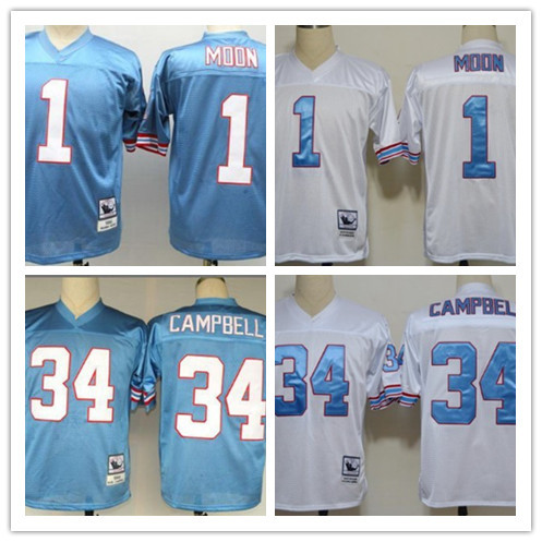 HOT Sale men's M&N 1 Warren Moon 34 Earl Campbell Throwback Football Jersey,Sport Jersey free shipping(China (Mainland))