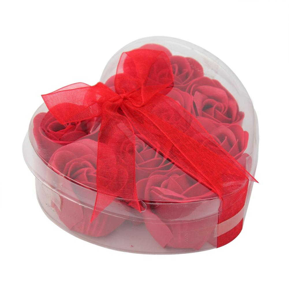 9pcs Red Bath Body Flower Heart Favor Soap Rose Petal Wedding Decoration Gifts(China (Mainland))