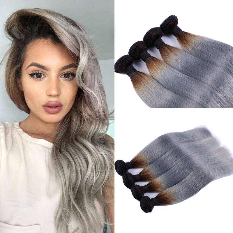 2pcs/lot Peruvian Virgin Hair Ombre Grey Weave Silver Grey Hair Straight Hair Extension Ombre Grey Hair Free Shipping