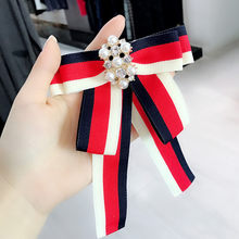 Aku-Remiel Korea Pita Dasi Pin Bros Mutiara Dasi Bunga College Biru Merah Putih Navy Wanita pakaian Aksesoris(China)