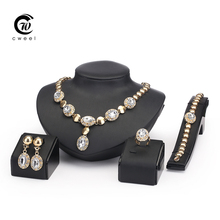 Sapphire Beads Collares Jewelry Sets For Women Fine Accessories Wedding Bridal Pendant Statement CZ Diamond Necklace Earrings(China (Mainland))