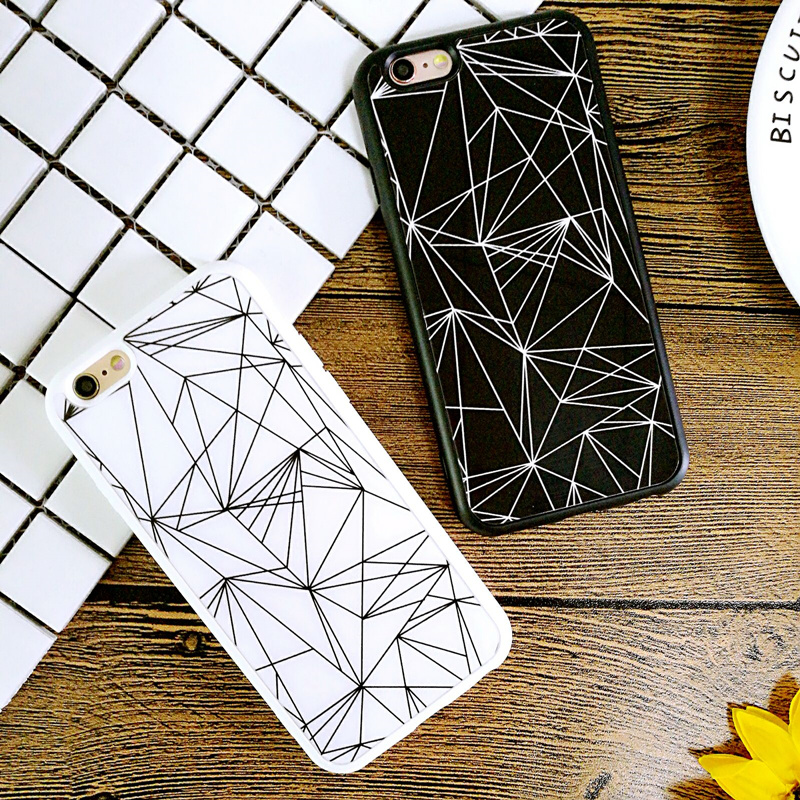 Luxury Black White Squares Lovers Geometry Soft Silicone Phone Cases Cover For iPhone 5 5s Se 6 6s 6 Plus Cover Funda Capa Coque(China (Mainland))