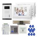 FREE SHIPPING 7 Video Intercom Door Phone System 2 White Monitor 1 Doorbell Camera for 2