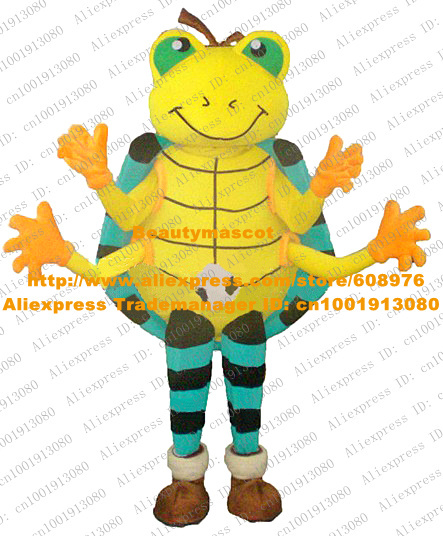 Fancy Yellow Ladybug Mascot Costume Ladybird Lady Beetle Scarab Besouro Insect With Big Green Eyes Yellow Legs No.5896 Free Ship(China (Mainland))