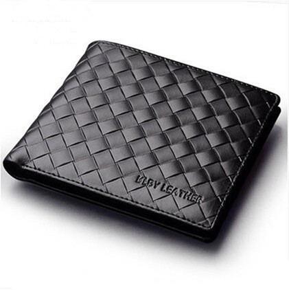 Brand Men Wallets Genuine Leather Wallet Carteira Masculina Men Leather Woven Wallet Male Purse Porte Monnaie &amp; Billetera Hombre<br><br>Aliexpress