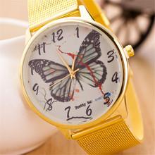Relogio masculino del cuarzo de hombre, mujeres de mariposa británica del estilo del reloj digital. mujeres calientes de la venta completo oro acero relojes de pulsera