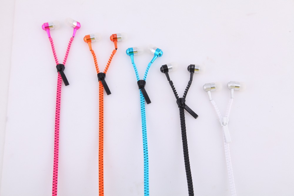 2016 Metal Zipper Earphone 3.5mm Wired Ear Phones With Microphone Stereo Bass For Mobile Phone MP3/4(China (Mainland))