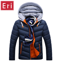 Winter Jacket Men Hat Detachable Warm Coat Cotton-Padded Outwear Mens Coats Jackets Hooded Collar Slim Clothes Thick Parkas X327(China (Mainland))