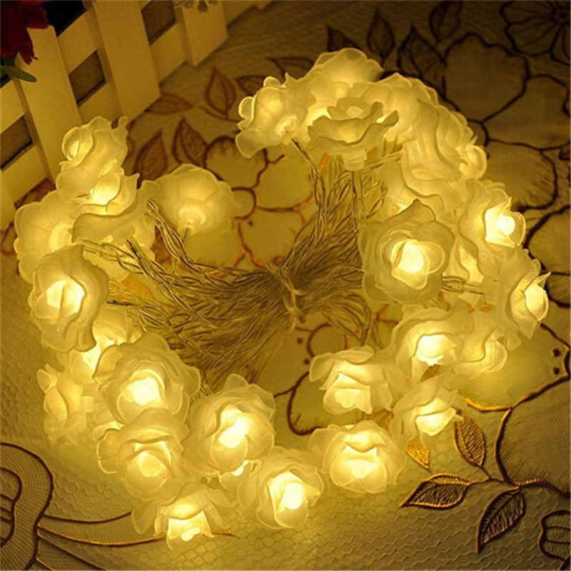 LED Flower Fairy Lights 50LED Rose Flower String Lights Wedding Garden Party Christmas Decoration guirnalda luces rosa blanca(China (Mainland))