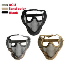 Tactical Wire Mesh Half Face Ear Protection Skull Mask Party Masks Hunting Military Mask Airsoft Paintball CS Mask