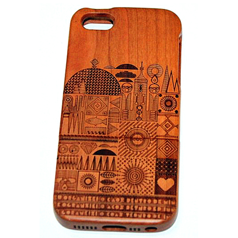 Real Genuine Natural Bamboo Wood Wooden Back Hard Case Apple IPhone 5 5G 5S. - Myemarket store