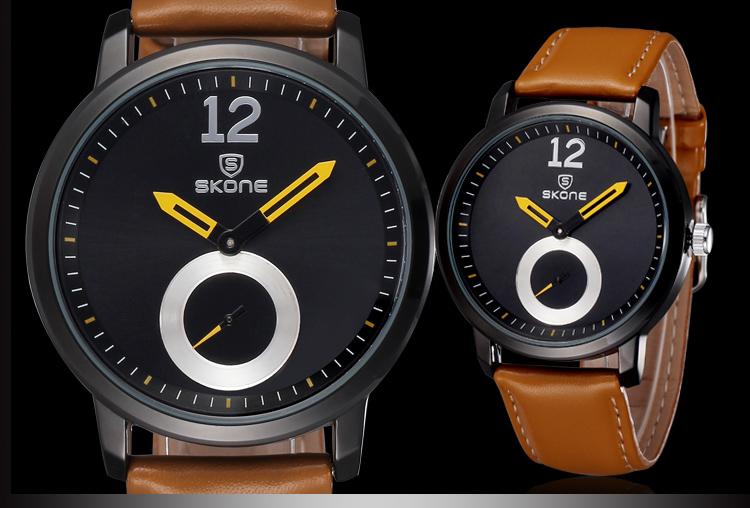SKONE Часы Мужчины Luxury Brand Кварцевые Аналоговые Спортивные Часы Кожаный Ремешок Часы Мужчины Женщины Унисекс Моды Случайные Наручные Часы montre