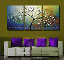 Modern Flower Tree Painting Oil Handmade Abstract 3 Panel Wall Art Canvas Decoration Home Picture Sets(China (Mainland))