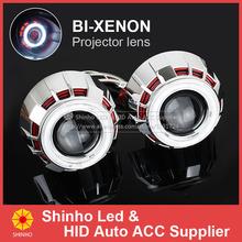 Free Shipping 2.8Inch H1 H4 H7 Car Double Angel Eyes Bi Xenon HID Headlight Projector Lens Light Kit 3000K 4300K 6000K 8000K(China (Mainland))