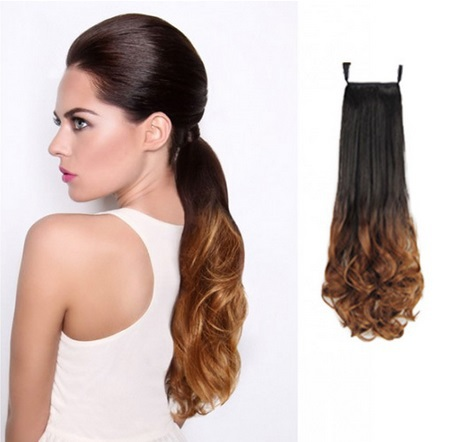 Ombre color ponytail blackT27 wrap around ponytail hair pieces  for woman synthetic ponytail wavy Omber hair extension<br><br>Aliexpress