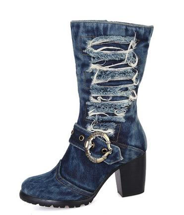 High quality designer shoes in the fashion boots denim high thick with women's boots boots sexy boots(China (Mainland))