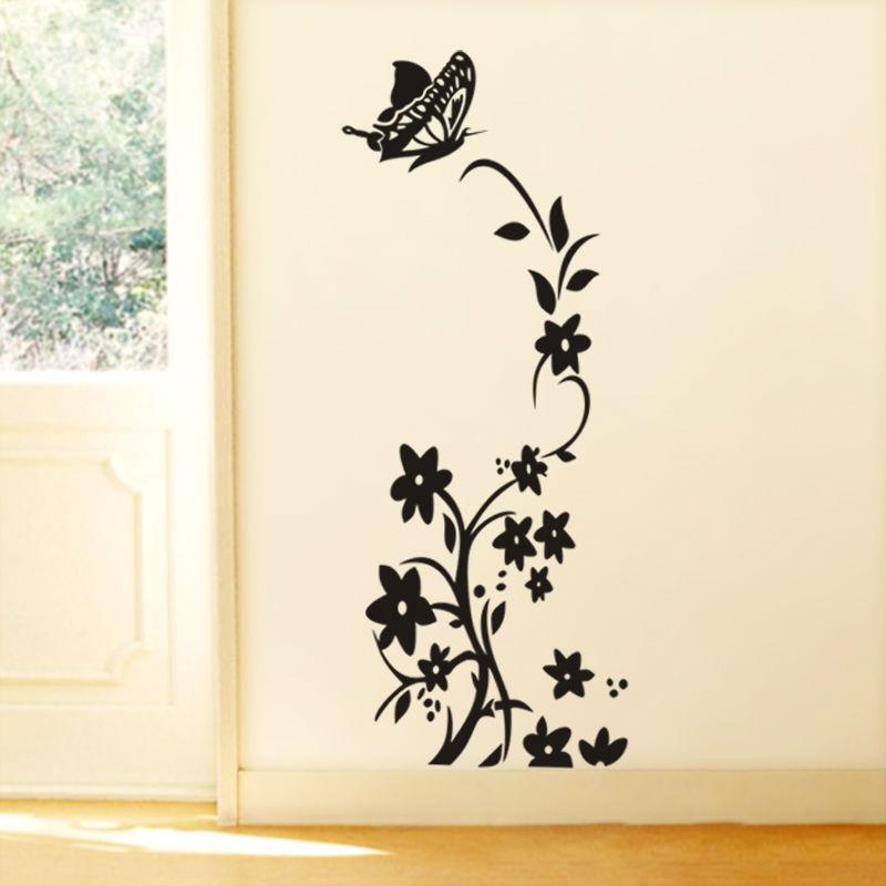Black or white vine flower stickers zooyoo8308 fridge non toxic wall getsubject aeproduct mightylinksfo
