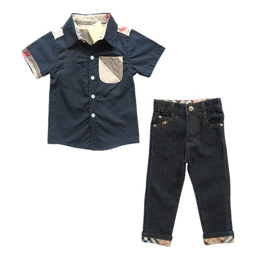 Hot selling children's suits name brand boys shirts + long jeans fashion kids clothes straight pants casual child clothing set(China (Mainland))