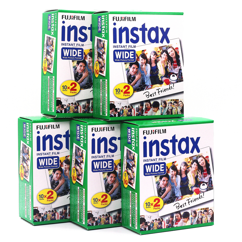 5pcs Fujifilm Instax Wide Film Plain Edge Twin Pack Version (Total 100 Photos) Instant Film for Camera 200 210 Free Shipping(China (Mainland))