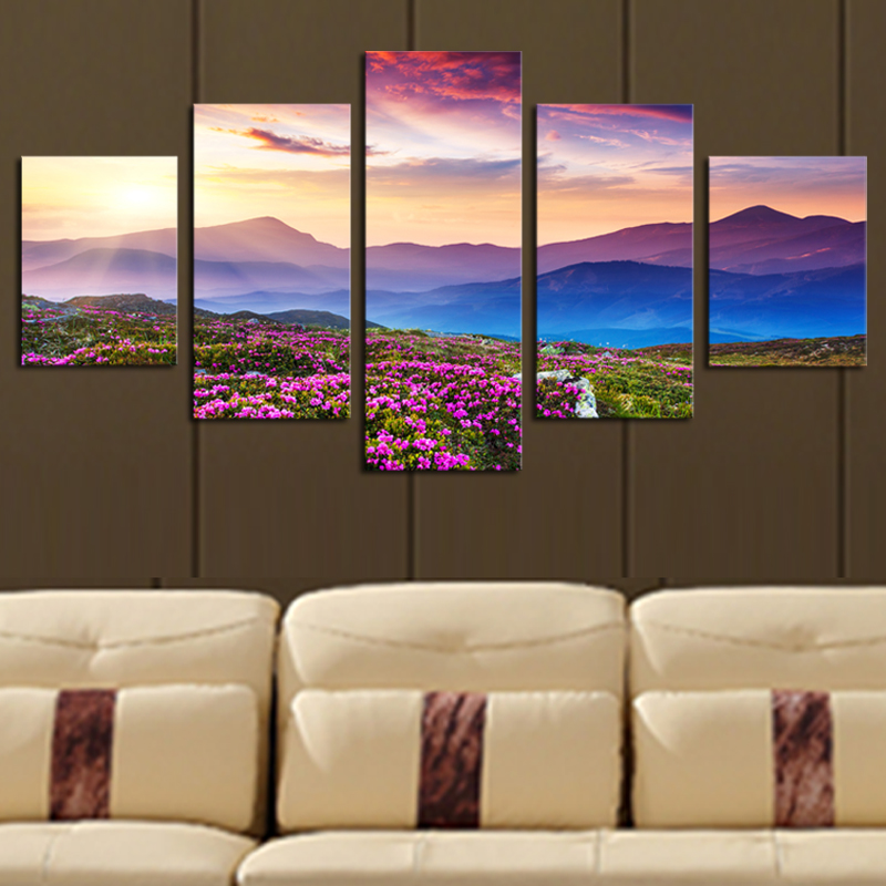 5 piece no frame the sunset and the mountain modern home for Modern home decor pieces