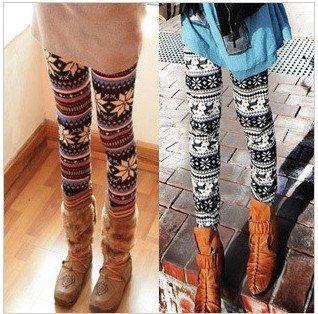 Winter Women's Xmas Snowflake Reindeer Knitted  Pants Warm Leggings Pants