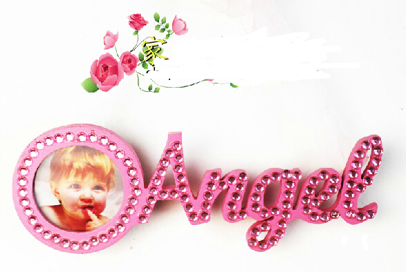 """5pcs """"Angel"""" Pink Handmade WOOD PICTURE FRAME Reclaimed Barnwood NEW,Baby Shower picture,can be hanged on the Wall(China (Mainland))"""