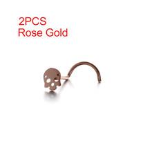 2PCs דק גולגולת ראש האף בורג Stud נחירי חישוק זעירים האף Stud טבעת נייל נירוסטה האף נייל אוזן גוף פירסינג תכשיטים(China)
