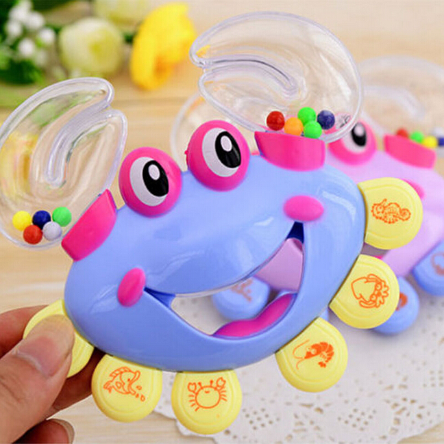 Hot Sale Interactive Crab Shape Rattles for Babies Handbell Developmental Baby Rattles Mobiles Toy Plastic(China (Mainland))