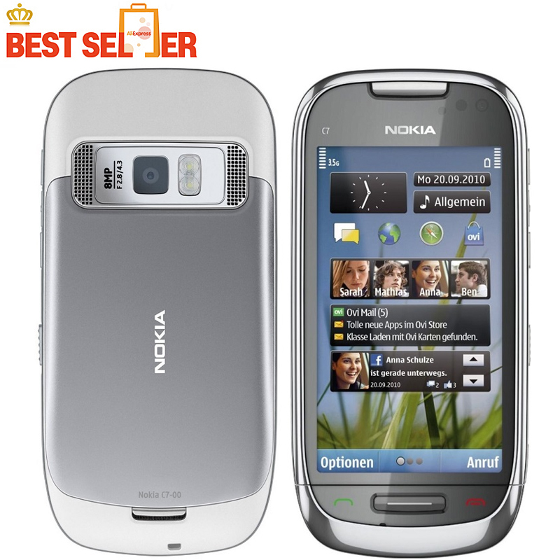 C7 Original Phone Nokia C7 GSM 3G WIFI GPS Bluetooth NFC 8MP Camera Cell phones Unlocked 3.5'' Touch Free shipping(China (Mainland))