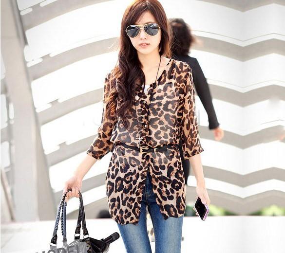Casual Women Blouse Leopard Print Blusas Femininas 2016 Fashion Tops Shirt Chiffon Shirts Half Sleeve Plus Size $k(China (Mainland))
