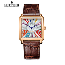 Reef Tiger/RT Watches High Quality Quartz Watch for Women Fashion Rose Gold Leather Strap Colorful Roman Numeral Watch RGA173