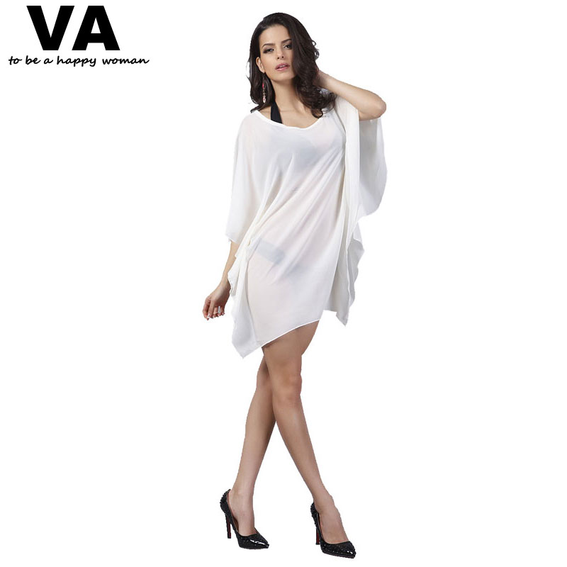 VA Womens Beach Cover Hollow Out Chiffon Dress O-Neck Batwing Short Sleeve Sexy Dresses Female Desigual Vestidos Clothing W00882(China (Mainland))