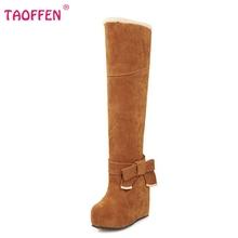 Señoras de la plataforma sobre la rodilla botas de las mujeres martin bota de la nieve caliente botas de invierno masculina de algodón calzado talones P19639 tamaño 31-43(China (Mainland))