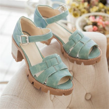 Gladiator Summer woman sandals 2016 new arrival platforms  thick heel sandals big size 11 buckle shoes woman