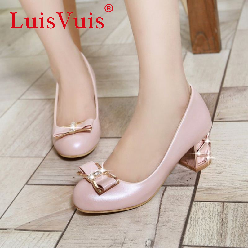 sweety lady round head shoes bowtie bowknot women leisure shoes square heel new heeled footwear shoes size 32-43 P23157