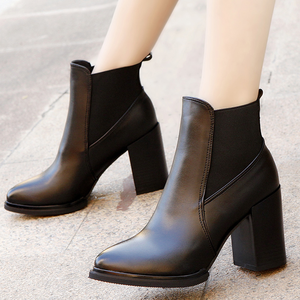 2015 women's autumn shoes single shoes boots high thick heel female british style martin boots single boots short boots