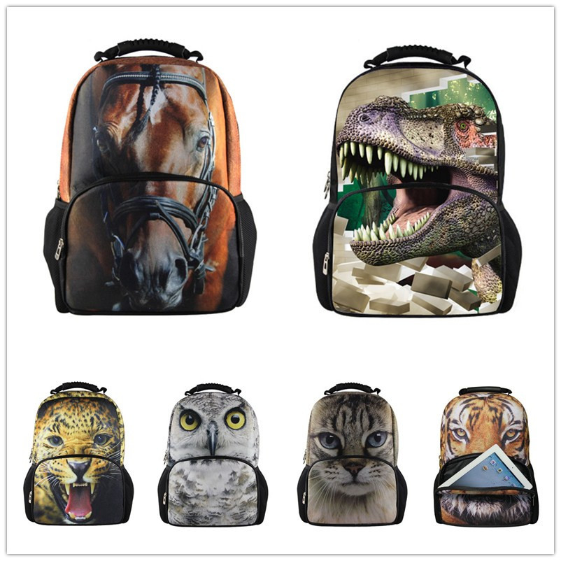 2015 hot 3D tiger school bags for kids men's travel bag,children animal schoolbag for boys,printing shoulder bags child mochila(China (Mainland))