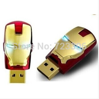 Wholesale! New Avengers Iron Man Golden And Red LED Flash Real 1Gb-128Gb USB Flash 2.0 Memory Drive Root Pen Thumb 128GB USB(China (Mainland))