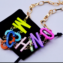 Color metal heavy metal chain necklace letter exaggerated necklace(China (Mainland))