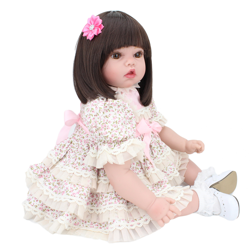 Cute girl silicone reborn dolls toys 55CM size borwn eyes short hair bonecas baby alive bebe toys children gift<br><br>Aliexpress
