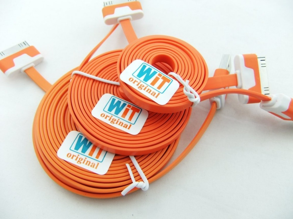 3pcs/lot 3in1 3ft 6ft 2m 10ft Extra Long Noodle Flat USB Charger Cable Cords for Iphone 4 4s Ipod Touch 4 Nano 6 (orange)(China (Mainland))