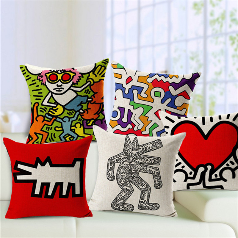 Cartoon Abstract Painting Scandinavian Minimalist Creative Cotton Seat Cushion Office Car Sofa Cushion Home Decoration HD0004