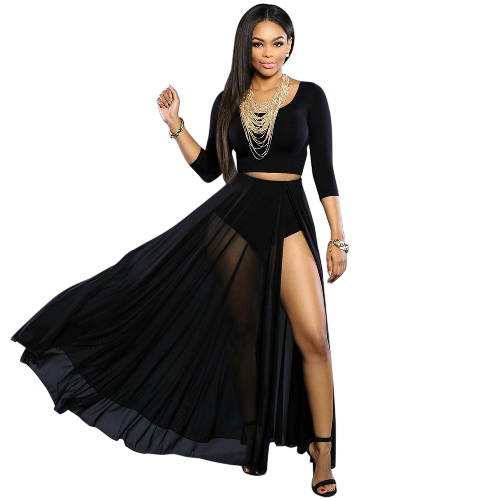 womens maxi skirt suit fashion black crop top and skirt set casual nightclub