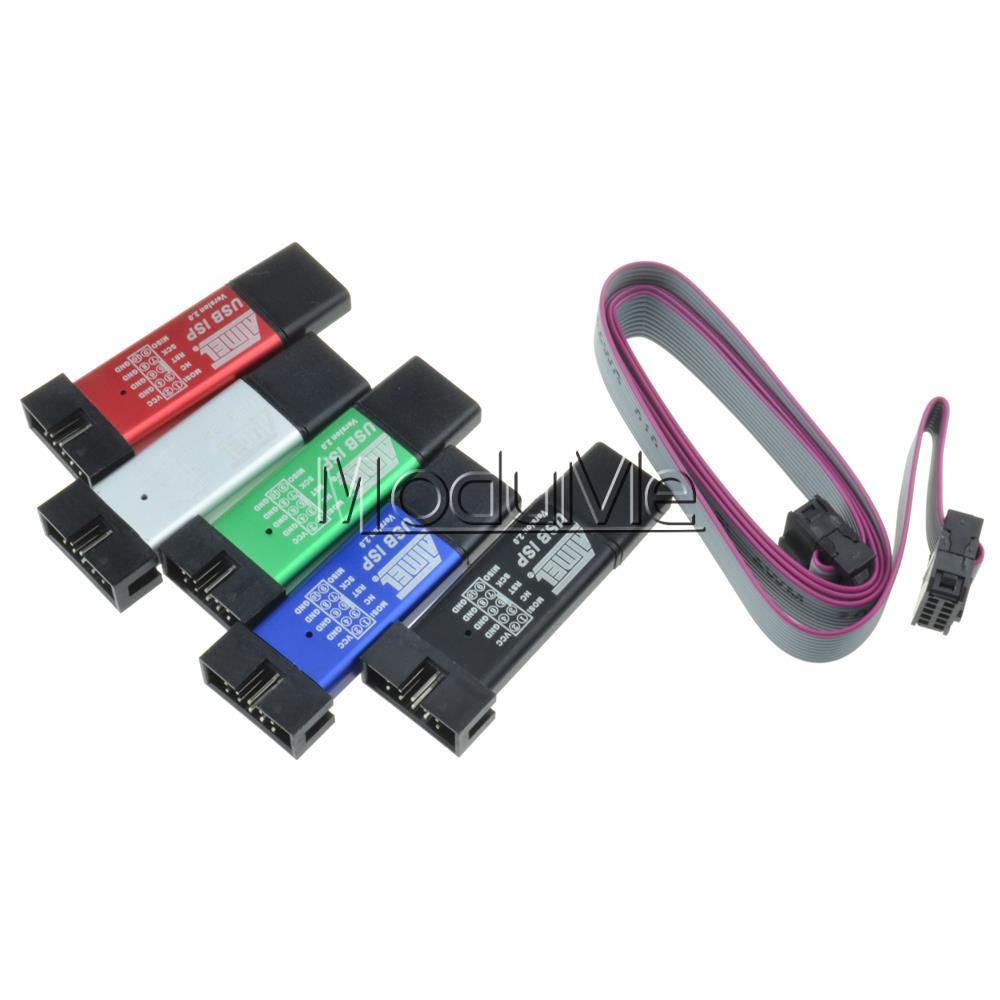 10pcs USB ISP USBISP USBASP ASP AVR Programmer for 51 ATMEL AVR WIN7 64 (RANDOM COLOR)(China (Mainland))