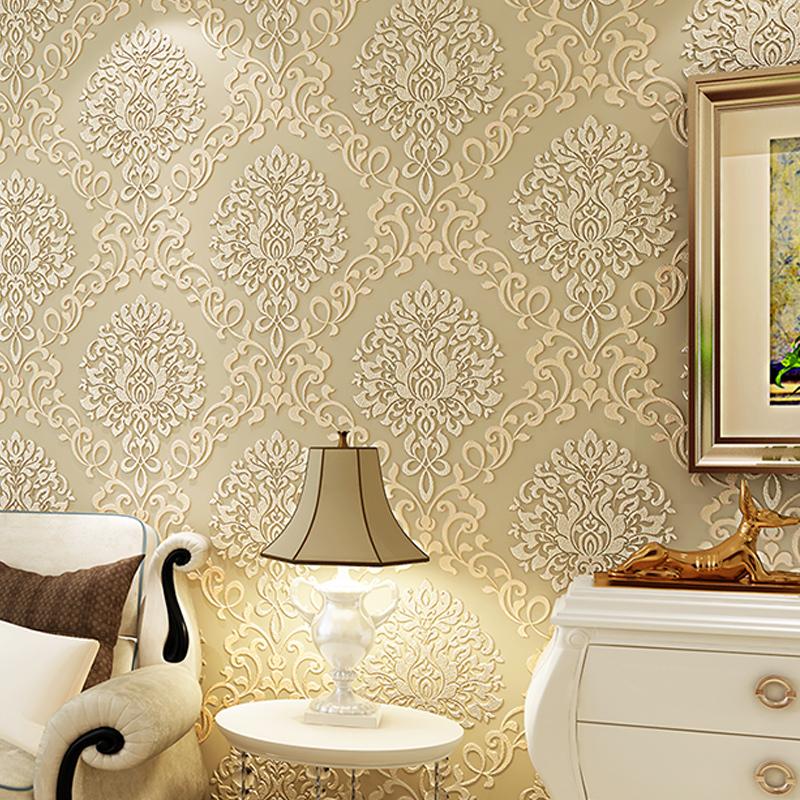 wall paper. Pune Jane European Damascus wallpaper 3D stereoscopic relief backdrop wallpaper non-woven wallpaper bedroom living r
